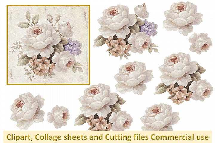 Printable collage plus PNG, SVG Vintage Watercolour roses CU