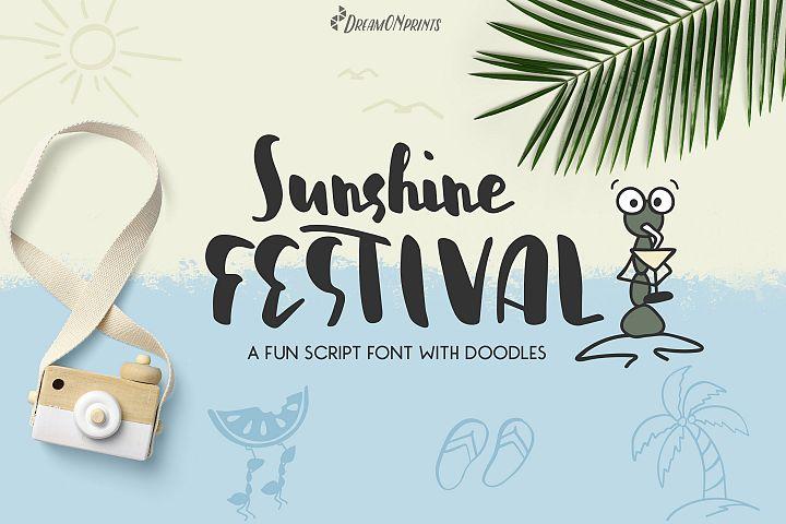 Sunshine Festival - Fun Script Font with Doodles