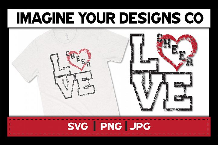 LOVE Cheer Printable Sublimation, Clipart and SVG Cut File