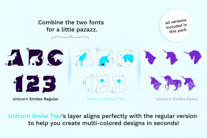 Unicorn Smiles Layered Font plus Bonus Files | Unicorn Font example image 2