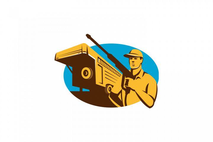 Pressure Washer Cleaner Worker Trailer Retro