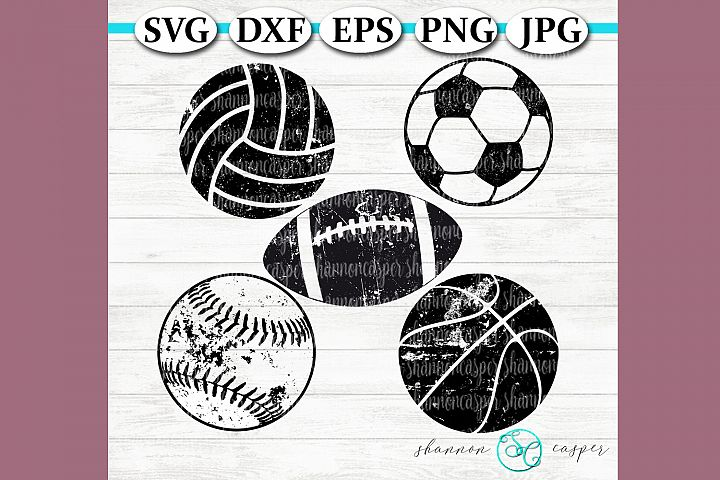 Grunge Distressed Sports Balls Bundle