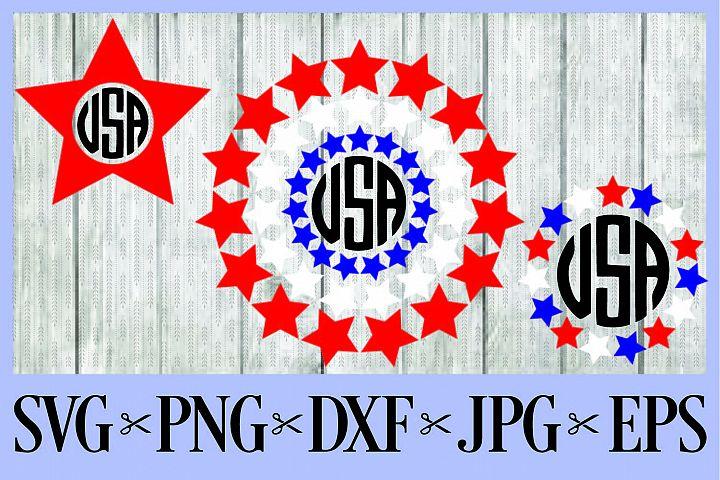 July 4th independence day monogram frames red, white & blue SVG PNG EPS DXF JPG Star flag