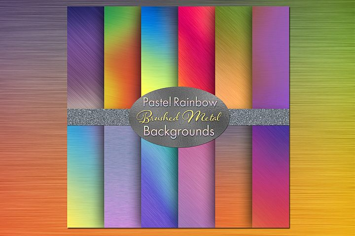 Pastel Rainbow Brushed Metal-Style Backgrounds
