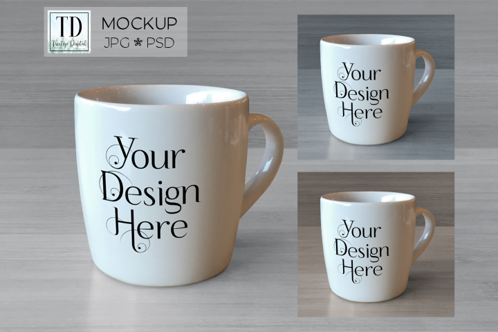 Coffee Mug Mockup, JPG & PSD Smart Object Coffee Cup Mockup
