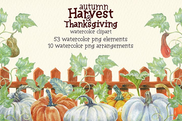 watercolor autumn, harvest and thanksgiving clipart