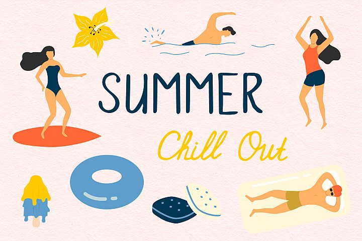 Summer Chill out - over 60 hand drawn summer elements