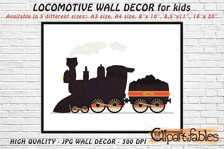 Cute LOCOMOTIVE, Digital print, INSTANT wall decor for kids