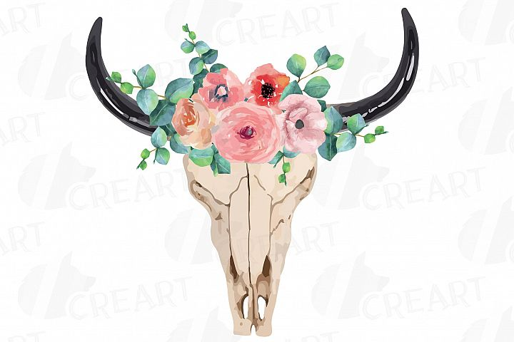 Watercolor floral blush pink and eucalyptus Bull Skull