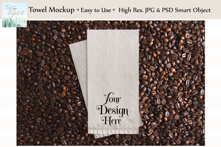Kitchen Towel Mockup in Coffee Beans, PSD Smart Object & JPG