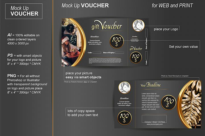 Mockup - Gift Voucher - Noble Gold