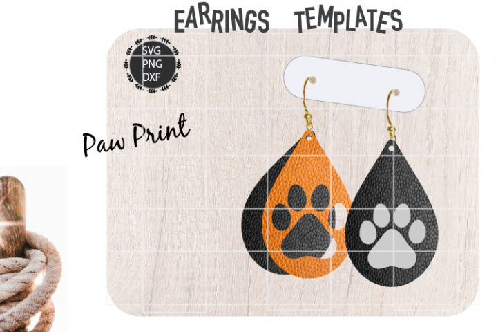 Paw Earrings Svg / Leather / Faux / Wood / Laser Cut File