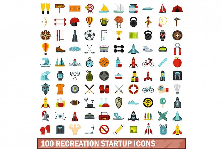 100 recreation startup icons set, flat style