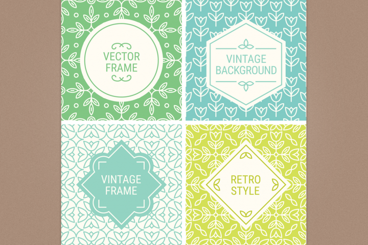 Mono Line Frames and Patterns - Set 16