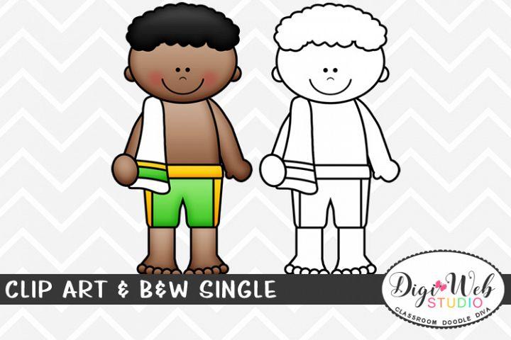 Clip Art & B&W Single - Swimmer - Sports Boy