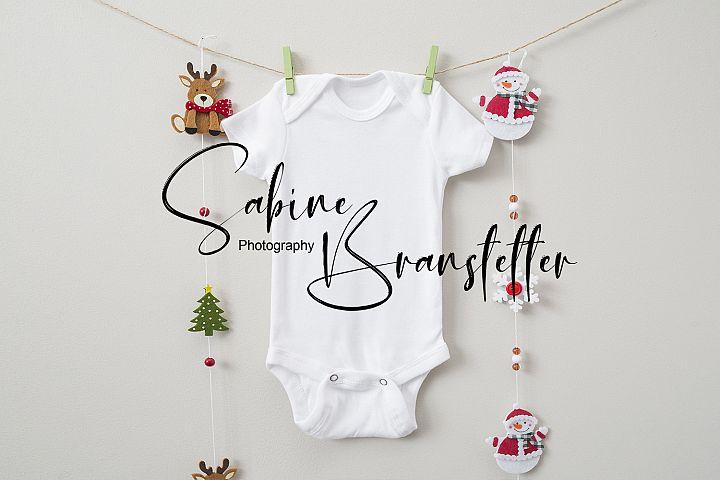 Styled Stock Photography Baby Bodysuit Christmas Mockup