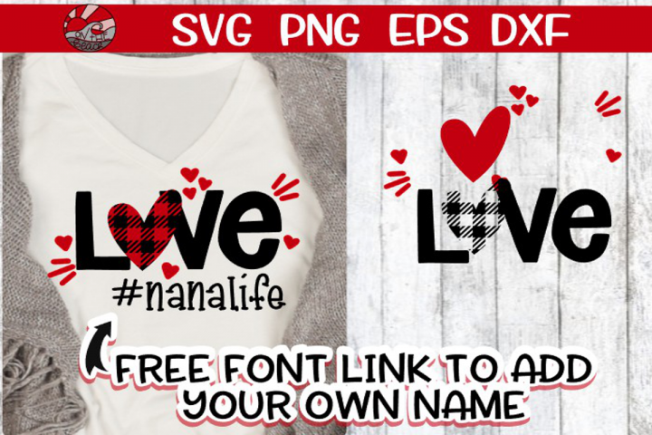 Love - Life - Buffalo Plaid - Link for FREE Font Included