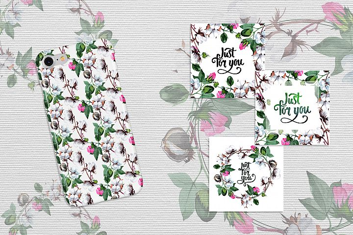 Cool cotton PNG watercolor set example 6