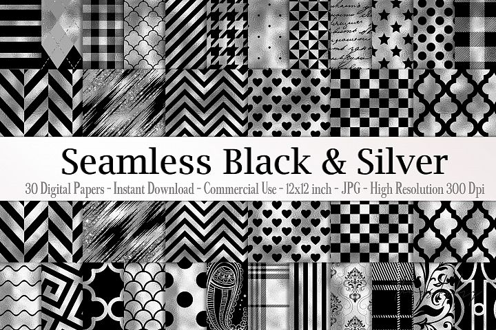 30 Seamless Black Silver Foil Basic Home Decor Print Pattern
