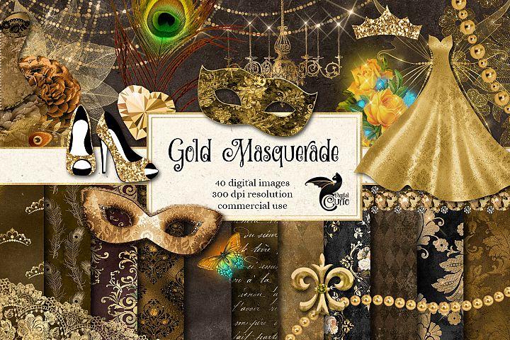 Gold Masquerade Digital Scrapbooking Kit