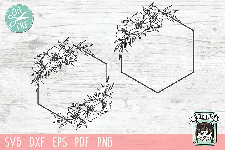 Flower Frame SVG file, Hexagon Frame, Floral cut file