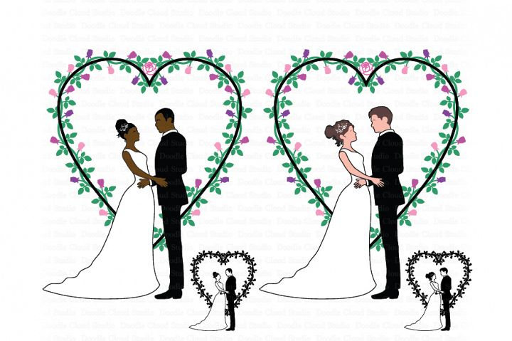 Wedding Couples SVG, Bride and Groom SVG, Wedding Hear PNG.