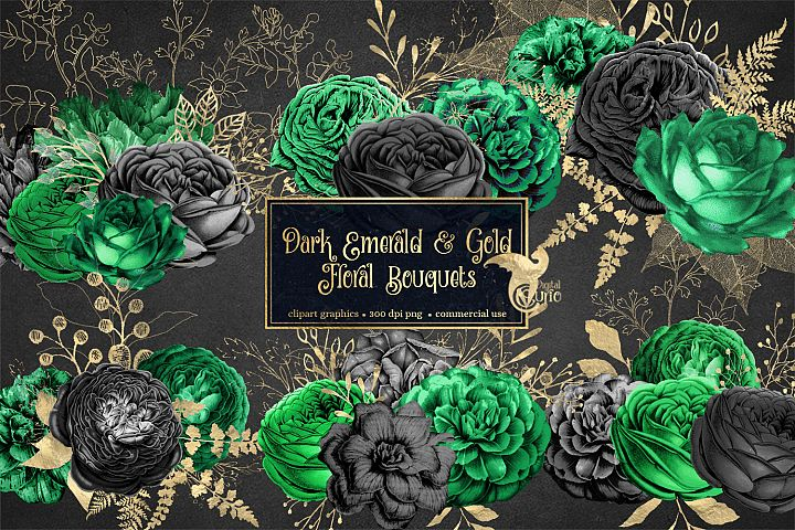 Dark Emerald and Gold Floral Clipart