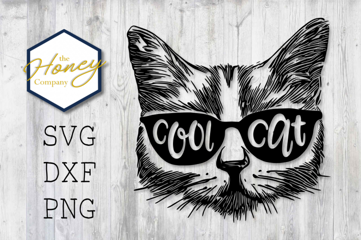 Cool Cat SVG PNG DXF Glasses Funny Smart Kitty Cutting File