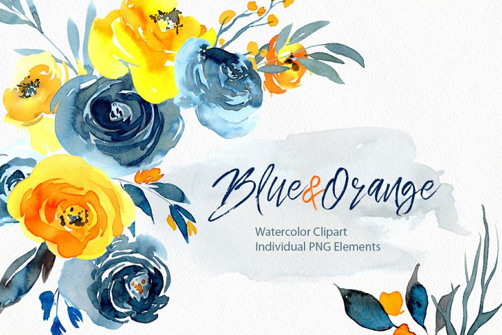 Watercolor blue orange yellow flowers png
