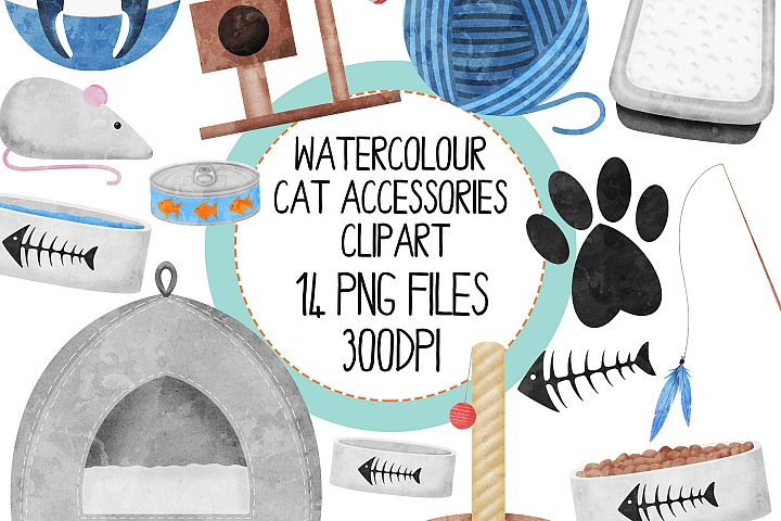 Watercolor Cat AccessoriesClipart Set