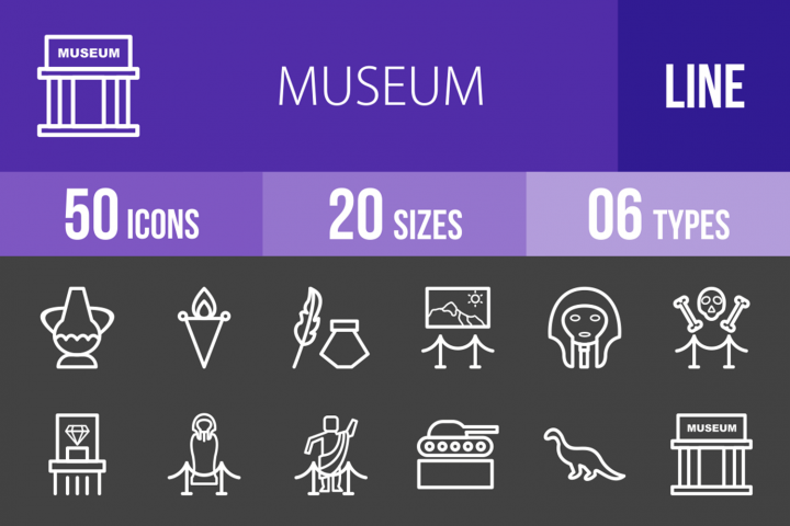 50 Museum Line Inverted Icons
