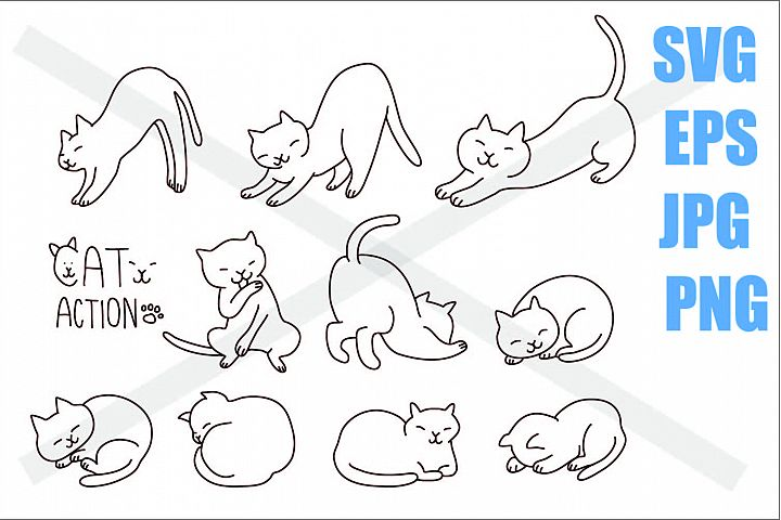 Cute Cat in Action - SVG EPS JPG PNG