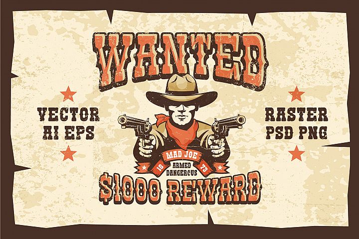Wanted Wild West Cowboy 3 Posters