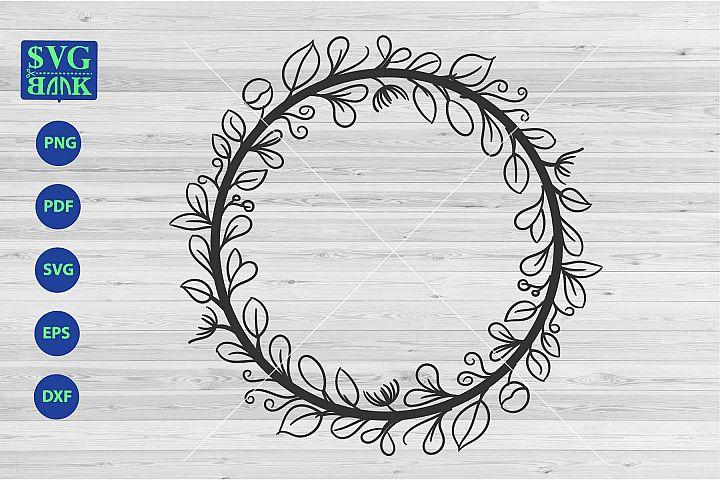Wreath svg file, monogram circle frame, laurel png, dxf, pdf