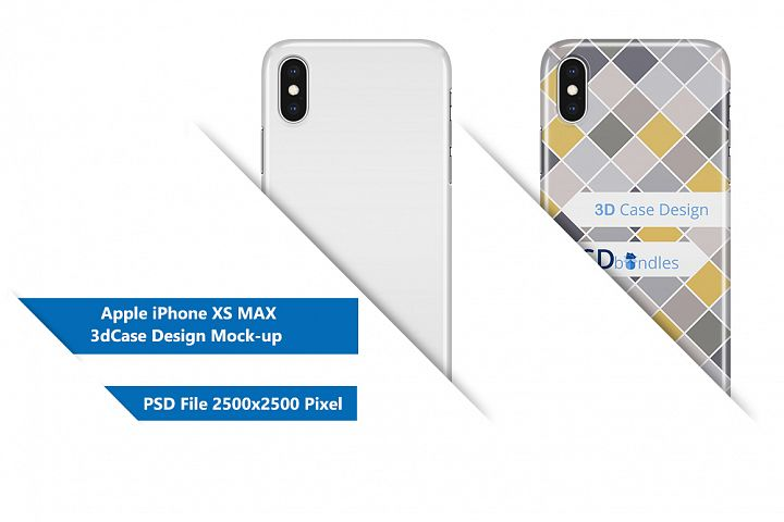 Apple iPhone XS MAX 3d Case Design Mock-up Back View