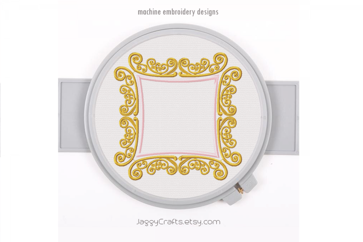 Royal Square Applique Monogram Font Border Frame