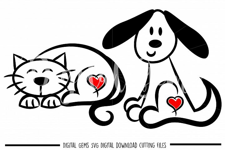 Cat and Dog SVG / PNG / EPS / DXF Files