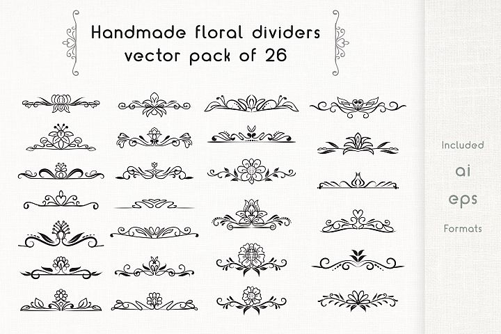 Handmade Floral Dividers pack of 26