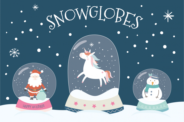 Snowglobes paper and clipart set