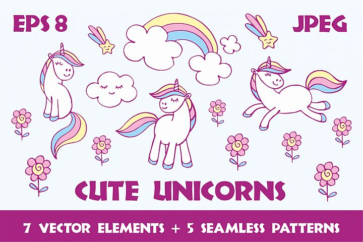 Cute unicorns. Vector elements and patterns.