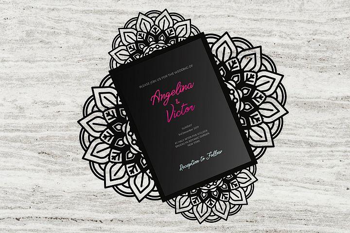 Elegance four-fold wedding invitation laser cut Template