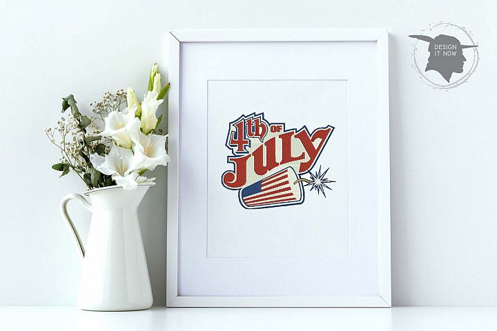 4th Of July Embroidery Design, Independance Day, 4th Of July example image 1