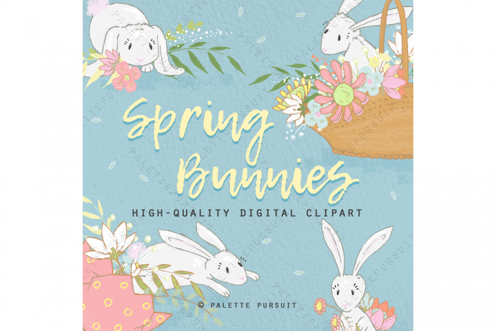 Spring bunnies and flowers clip art