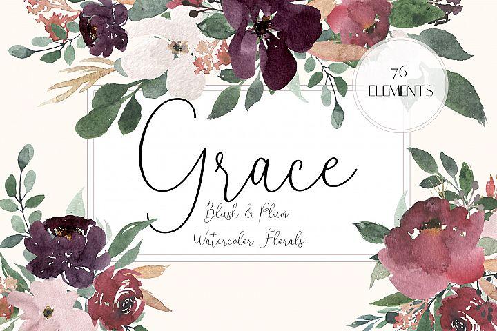 Grace - Blush & Plum Watercolor Florals