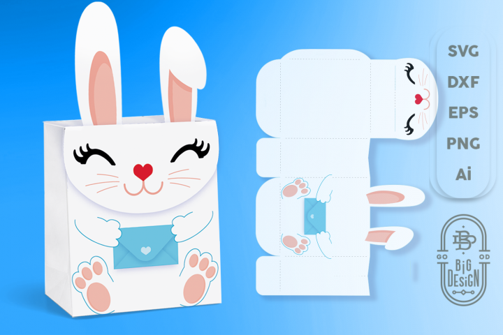 Box SVG File - Bunny Box SVG Template, Easter SVG, Gift Box