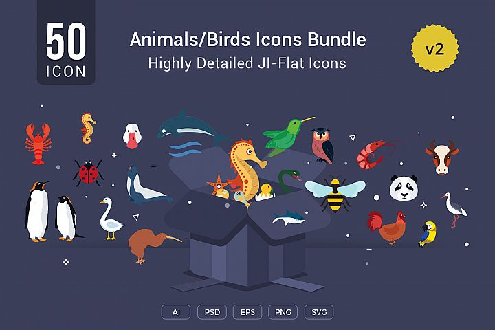 Animals, Birds, Insects Vector Icons