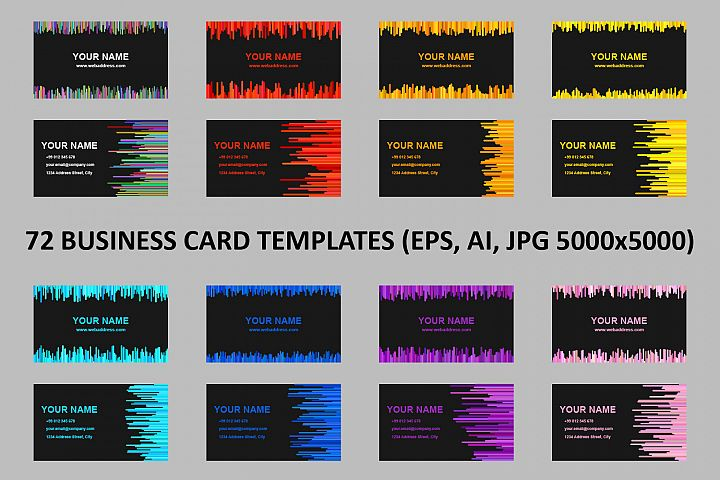 72 Business Card Templates AI, EPS, JPG 5000x5000