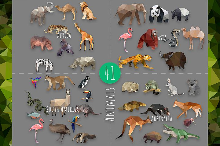 Vector Animals Bundle in low poly style