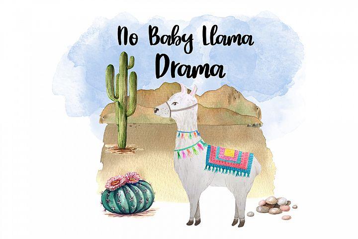 No Baby Llama Drama, Llama Watercolor Clipart
