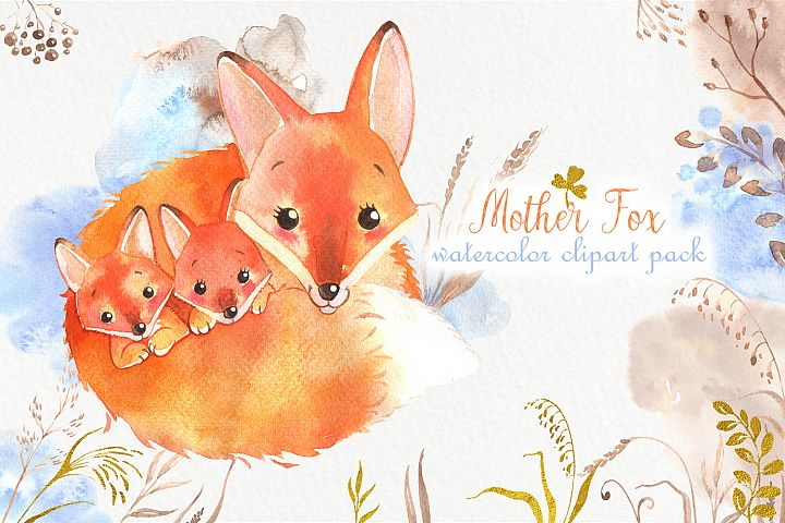 Cute watercolor foxes family pack